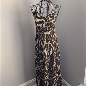 Xhilaration Leopard Maxi Halter Dress Size XS